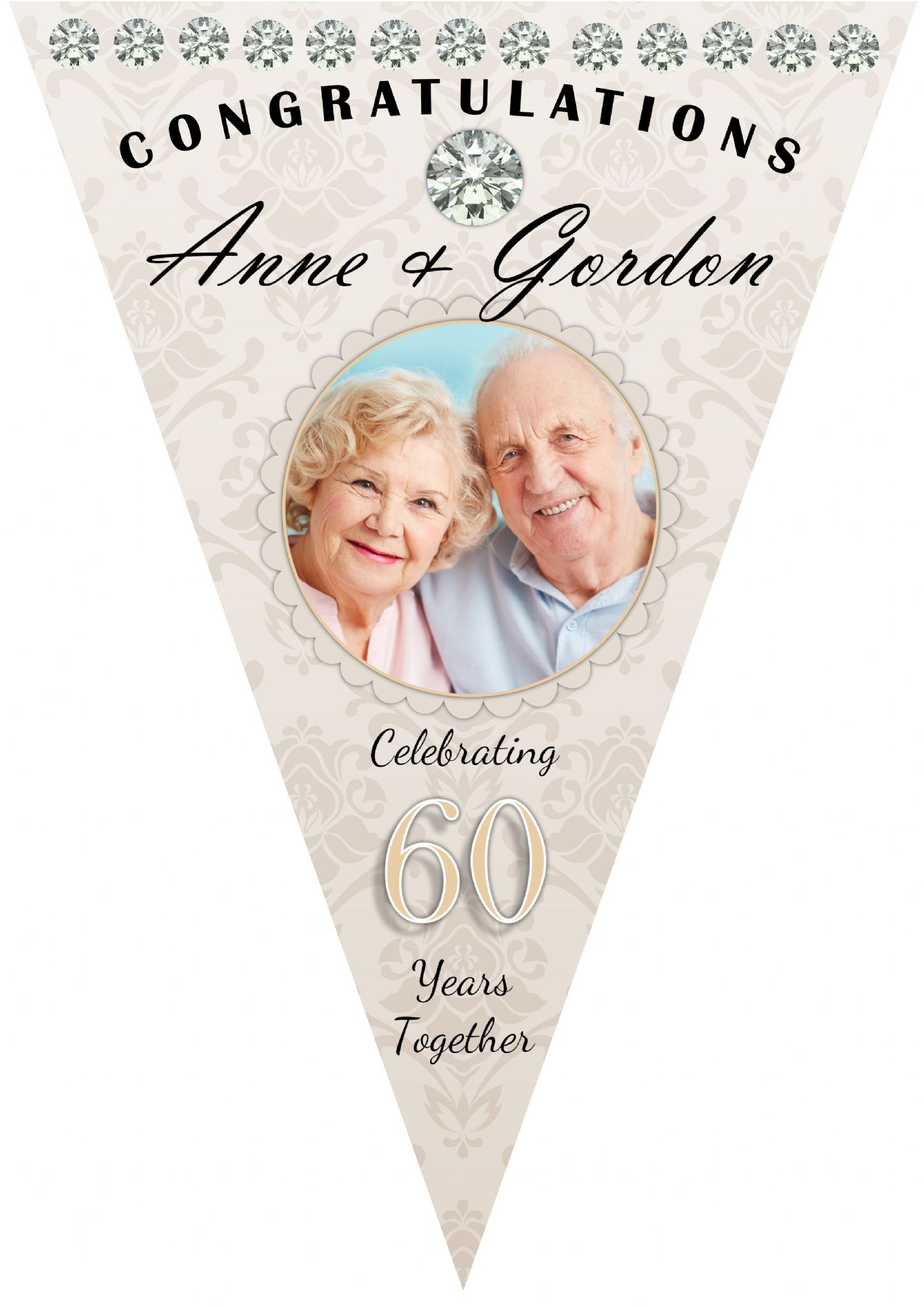 Personalised Diamond 60th Wedding Anniversary Celebration